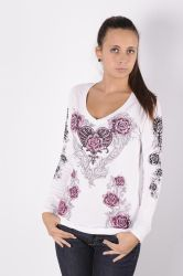 Liberty wear top donna con maniche lunghe bianco