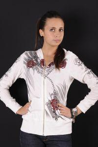Felpa zip liberty wear donna bianca rose e catene