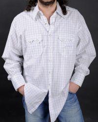 Camicia western Rockmount bianca con scacchi sottili