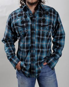 Turquoise and black Rockmount western shirt