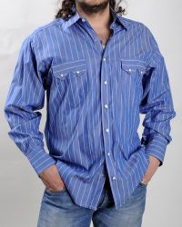 Chemise Western Rockmount à rayures bleues / rouges