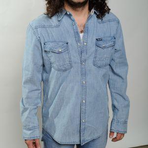 Chemise wrangler en coton bleu marine