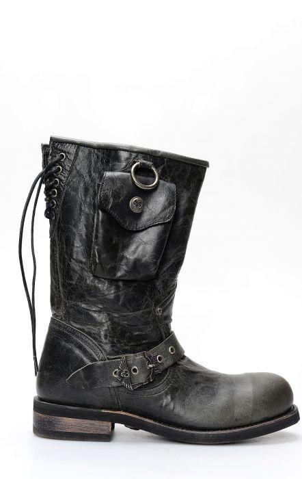 Bottes Liberty noires en cuir noir avec poche latérale