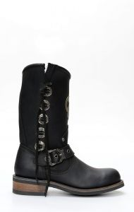 Black Liberty boots in black leather with logo insert and conchos