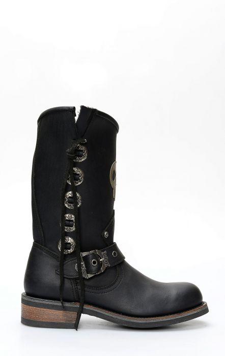 Bottes Liberty noires en cuir noir avec insert logo et conchos