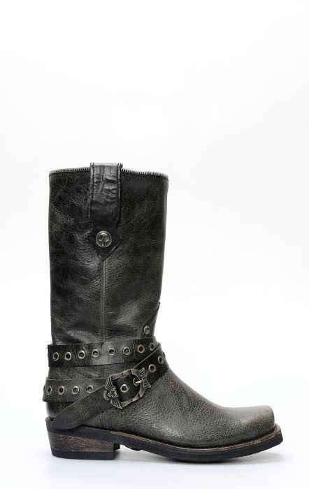 Black Liberty boots in black leather with strap and square toe