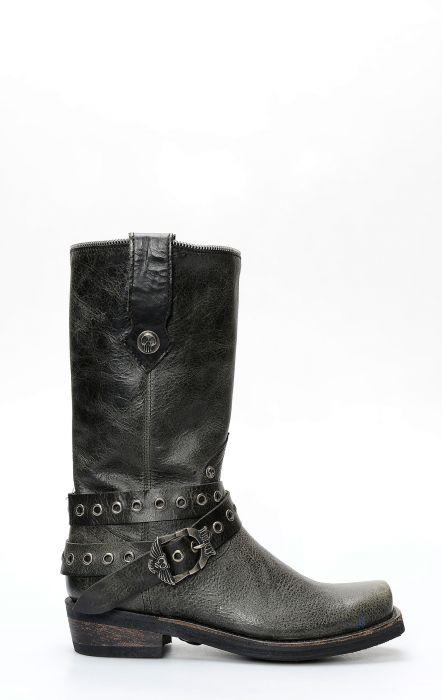 Stivali Liberty Black in pelle nera con cinturino e punta squadrata