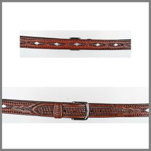 Brown Jalisco belt with diamond studs