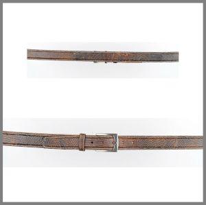 Cintura Cuadra marrone invecchiata in pelle di lucertola