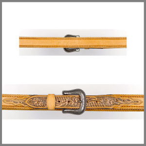 Yellow Jalisco belt with floral embroidery