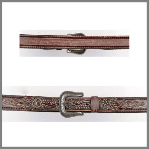 Brown Jalisco belt with floral embroidery