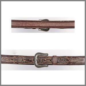 Cintura Jalisco marrone con ricamo floreale