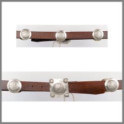 Cintura Jalisco marrone con borchie rotonde e fibbia