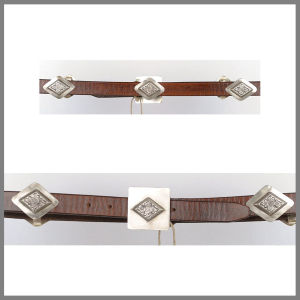 Cintura Jalisco marrone con borchie a rombo e fibbia