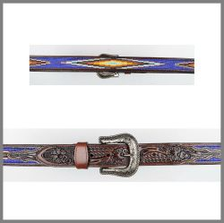 Brown Jalisco belt with colored beads
