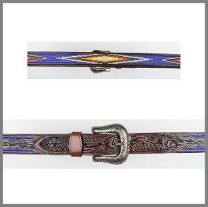 Cintura Jalisco marrone con perline colorate