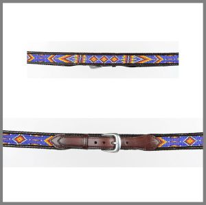 Brown Jalisco belt with assorted colored beads