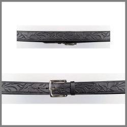 Cintura Jalisco nera con incisione floreale in tono
