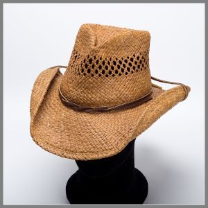 Shady Brady brown hat with chin strap and perforated crown