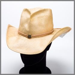 Shady Brady natural hat in palm leaf with stud