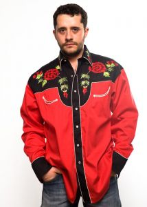 Camicia western Rockmount uomo  6805 nera e rossa