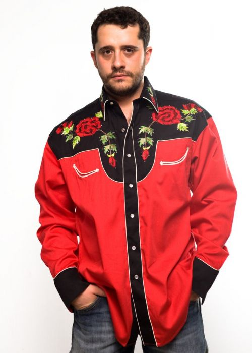 Camicia western Rockmount nera e rossa