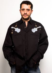 Black Rockmount western shirt with guitar embroidery and notes