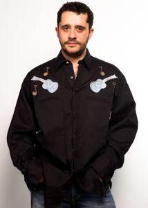 Camicia western Rockmount nera con ricamo a chitarra e note