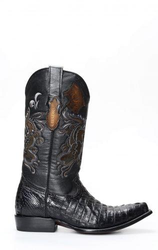 Cuadra bottes pour hommes en crocodile noir à pointe classique