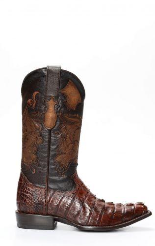 Cuadra, bottes pour hommes en crocodile brun foncé et bout classique