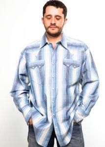 Camicia western Rockmount uomo  690 blue