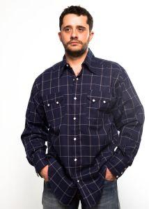 Camicia western Rockmount blu a scacchi larghi