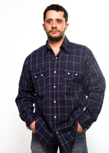 Rockmount blue shirt with wide checkered blue