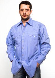 Chemise western Rockmount bleue claire pour homme