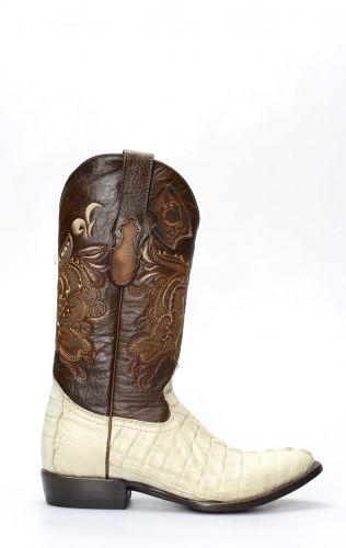 Stivali Texani Cuadra uomo in coccodrillo chiaro