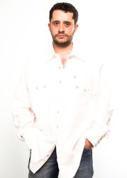 White Rockmount western shirt and mother-of-pearl buttons