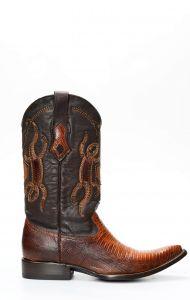 Stivali Texani Cuadra in pelle di lucertola color miele