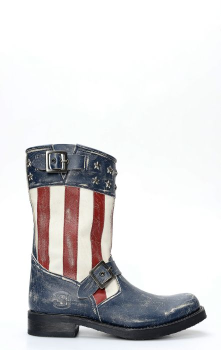 Sendra biker boots with American woman flag