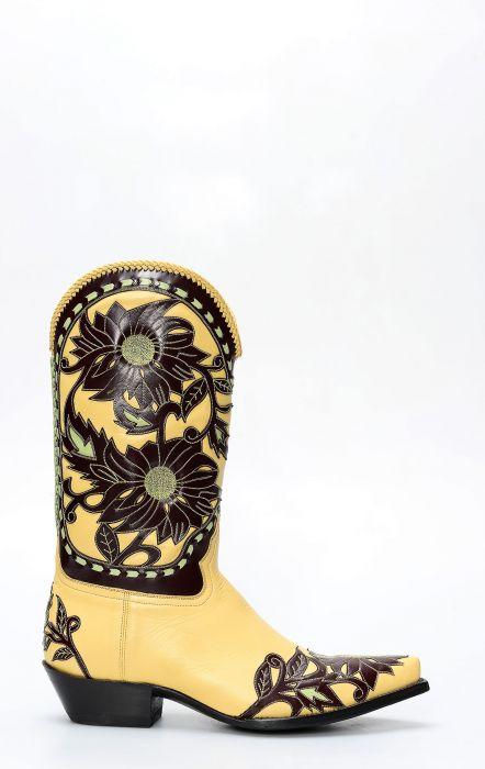 Stivali Texani della collezione Pineda Covalin floreali su base gialla