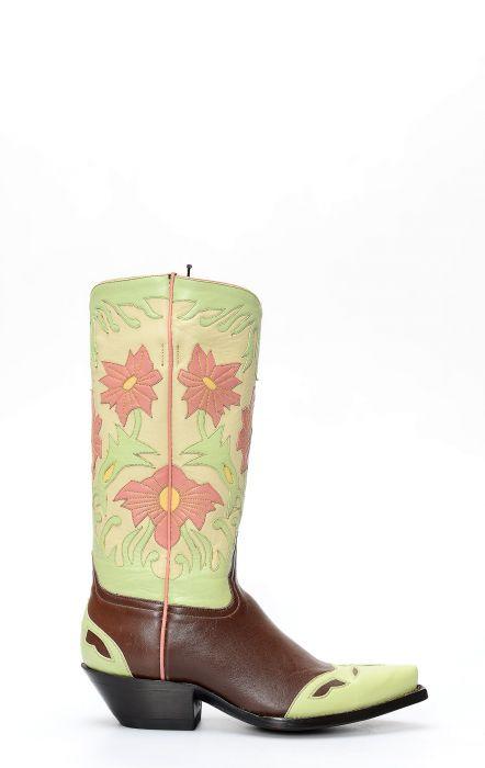 Stivali Texani della collezione Pineda Covalin floreali su base marrone
