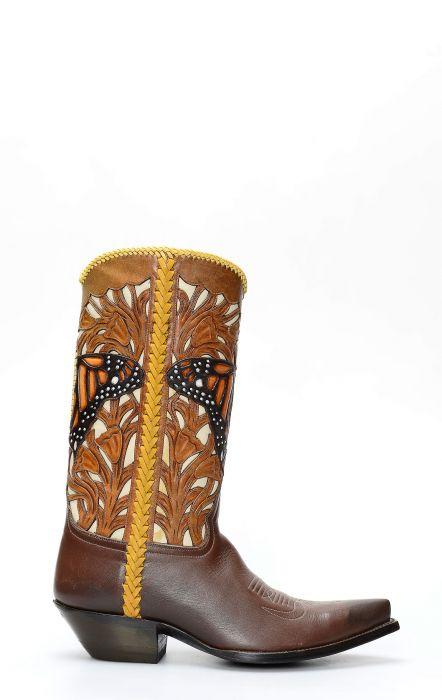 Stivali Texani della collezione Pineda Covalin con intarsio a farfalla