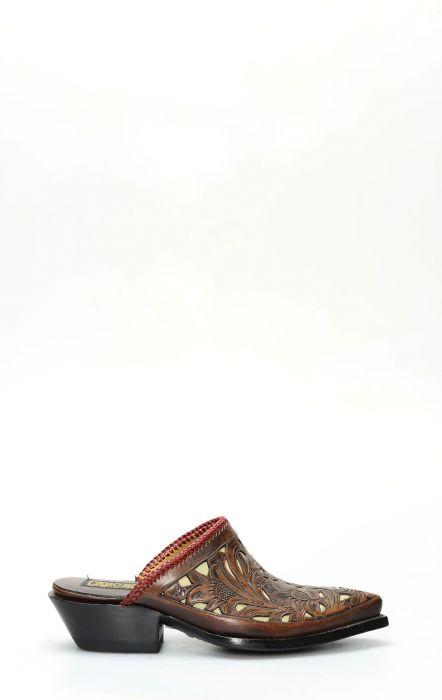 Stivali Texani sabot della collezione Pineda Covalin con ricami floreali