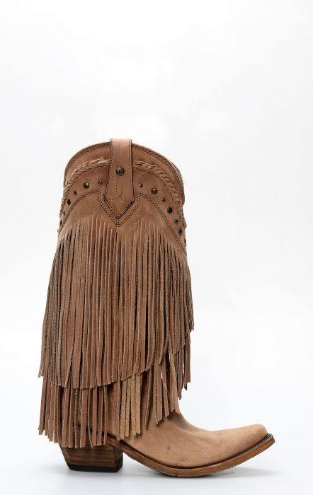 Botte Liberty Noire avec des franges marron clair