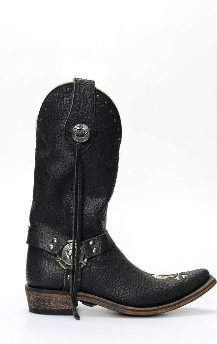 Liberty Black biker boots in leather with skull-shaped insert