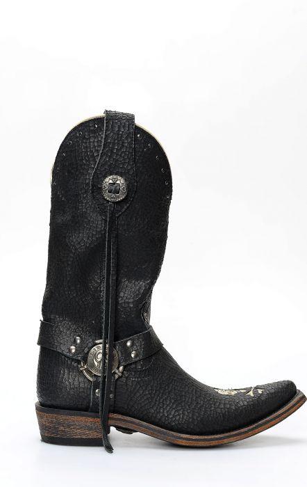Stivali biker Liberty Black in pelle con inserto a forma di teschio