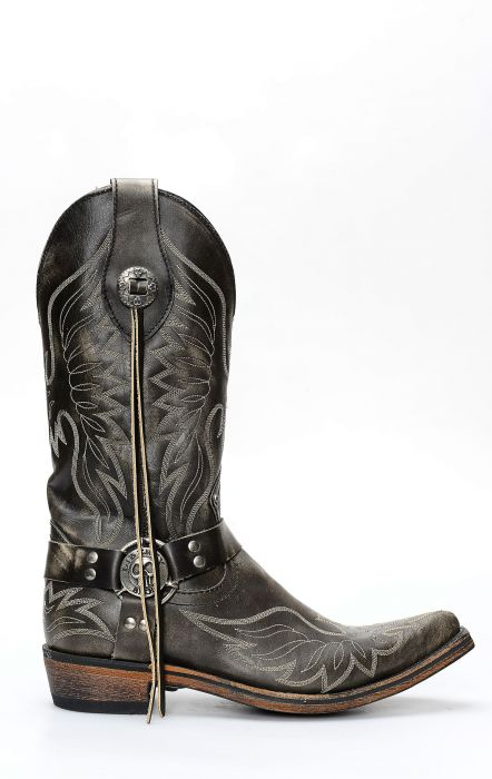 Liberty Black boots in black brushed leather with embroidery