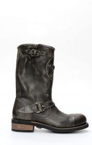 Liberty Black boots in brushed leather with embroidery
