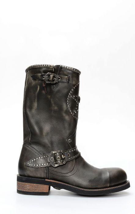 Stivali Liberty Black in pelle spazzolata con ricami
