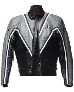 Jacket in gray and black SBJ leather