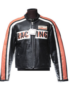 Jacket in black JKWork leather with orange and white bands